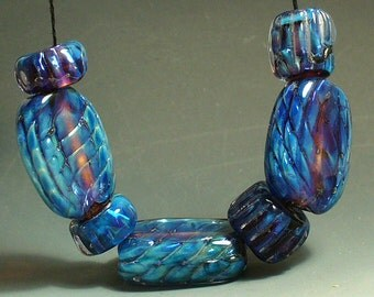 Handmade Lampwork Glass Beads by Catalinaglass SRA Blue Quilted Satin