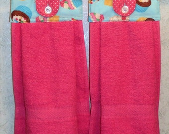 Hanging Cloth Top Kitchen Hand Towels - Party CUPCAKE Print - PINK Towels - Set of 2