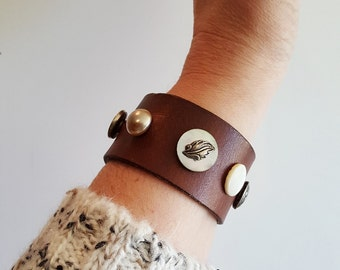 Brown Leather Cuff with Vintage Silver Tone Buttons made from Repurposed Belt