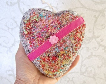 Valentine Heart Keepsake - Pink Ribbon Heart - Silk Tapestry Ornament - Heart Shaped Gift for Her - Mothers Day Gift - I Love You Gift STH02