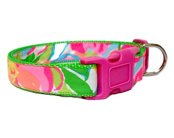 2016 SO A PEELING Dog Collar Made from Lilly Pulitzer Fabric on Green Size: Your Choice