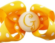 Hair Bow Hairbow Monogrammed Ponytail Bow Clip Ribbon - yellow polka gold or any colors