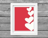 Valentines Day printable art. Valentines Day Decor.  Heart art. Hand drawn digital art. Instant Download.  8 x 10 inch art print.