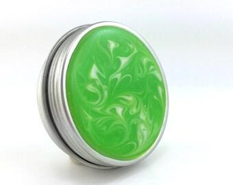Medium Lime Green Treasure Box - Lime Green Round Metal Box - Jewelry Box - Trinket Box - Handmade Pill Box - Ready to Ship - #144