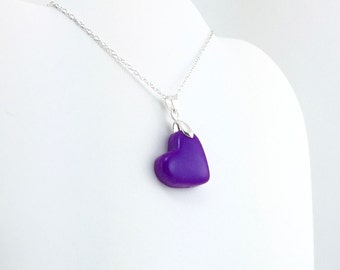 Bright Purple Heart Pendant - Simple Heart Necklace - Bright Purple Heart Necklace  - Wedding Jewelry, Bridesmaid Necklace - MADE to ORDER