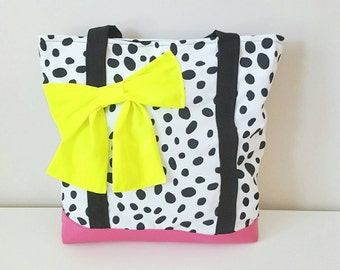 Handmade black and white polka dot bag with pink Bottom and neon yellow bow/ gifts for her/ book bag/ gifts under 50