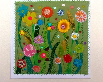 Mini Flower Garden - Original Textile Artwork - Art Quilt Ready to Frame