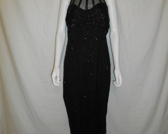 Vintage STENAY  Beautiful beaded silk black dress