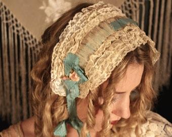 Sale was 122 1920s Rosette Silk Ribbonwork Lace Flapper Headband Original Boudoir Lingerie