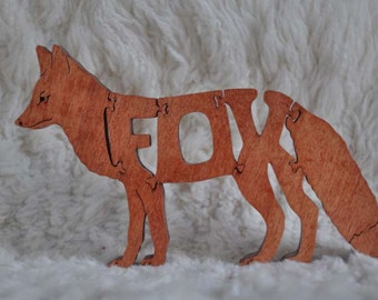 Fox Wooden Animal Puzzle Toy  Hand Cut  with Scroll Saw