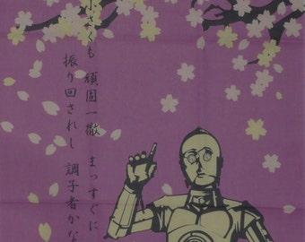 Star Wars Fabric R2D2, C3P0 and Sakura Cotton Japanese Tenugui Cloth w/Free Insured Shipping