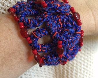 Blue and Red Crochet Bracelet