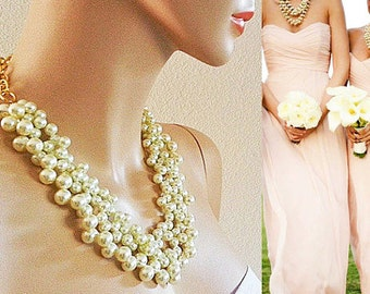 Bridesmaid Pearl Necklace, Wedding Necklace Pearl, Bridal Necklace, Pearl Necklace, Bridal Jewelry Chunky Statement Wedding Necklace Bib