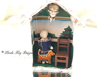 Frozen Charlotte Dollhouse Necklace Soldered House Mixed Media Shadowbox Pendant or Ornament