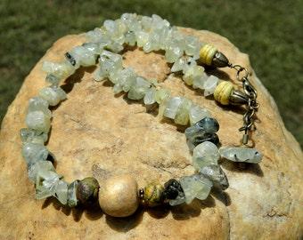 Prehnite Extra Large Nugget Bead Gemstone Necklace