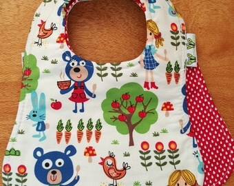 Baby reversible bib Wanawara  Goldilocks & Red Raindrops