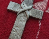 SALE Vintage 1960's Gothic Pewter 2 Inch Cross Charm Pendant Necklace