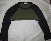 SALE Grunge Goth Punk Black Army Green Baseball Tee Crop Top Shrug S/M