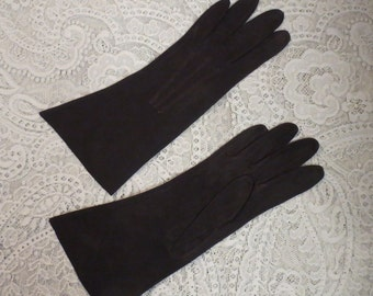 Superb 1940's Black Suede Gloves 6 1/2 Genuine Leather