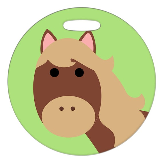 Luggage Tag - Horse - 2.5 inch or 4 Inch Round Large Plastic Bag Tag