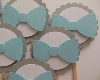 Blue Bowtie Cupcake Toppers - Gender Reveal Baby Shower Decorations - Boy Birthday Party - Boy Baby Shower - Set of 12