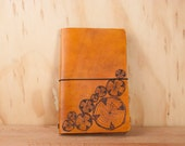 Midori Notebook - Leather Journal - Moleskine - Faux Bois pattern wtith wood rounds in antique tan