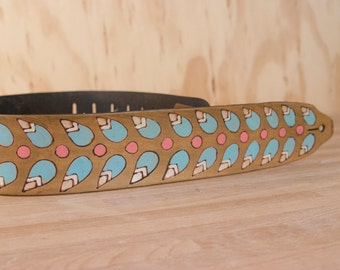 Guitar Strap - Leather in the Petal pattern with modern flowers in antique brown - Handmade Guitar Strap for Acoustic or Electric Guitars
