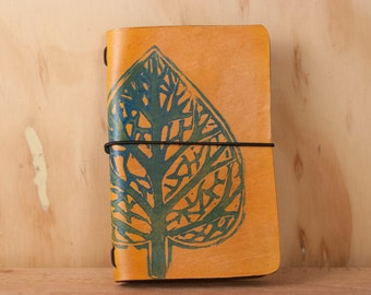 Leather Travelers Notebook - Handmade Leather Journal Cover for Midori or Moleskine - Leaf pattern in blue and antique tan