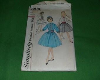 Vintage Girls dress pattern Simplicity 3293 size 12