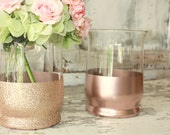 Rose gold vases, wedding decor, 12 rose gold dipped centerpiece vases or candle holders, rose gold glitter large vase, wedding table decor