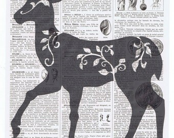 Deer,Woodland animal.Collage.Genuine Antique Book Page Print, gift.home decor,vintage,retro.french.art.birthday.nursery.forest.art.woods.mom