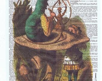 Alice in Wonderland.Vintage Book Page.caterpillar.hookah.repurposed.buy 3 get 1 free.child deco.bedroom.nursery.classic story.fantasy.wall