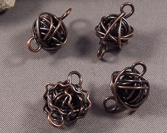 Copper Components by Monaslampwork - Various sizes and shapes -  Hand forged, patinated, and tumbled for strength and shine by Mona Sullivan