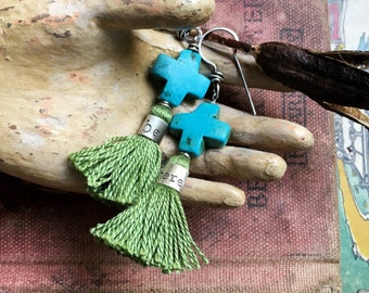 Be Here Howlite Turquoise Tassel Earrings