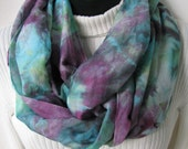 Infinity Scarf for Women Hand Dyed Cotton and Silk Purple and Turquoise scarf shibori dyed soft lightweight for spring and summer