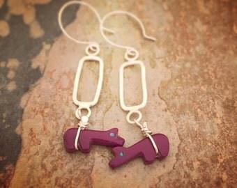purple zuni bear earrings sterling silver.