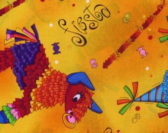 Sewing, Cotton fabric, Foust Textile, Fiesta, Pinnata, Yellow, Orange Background, Sewing Fabric, Crafting Fabric, Crafting, Sewing Supplies
