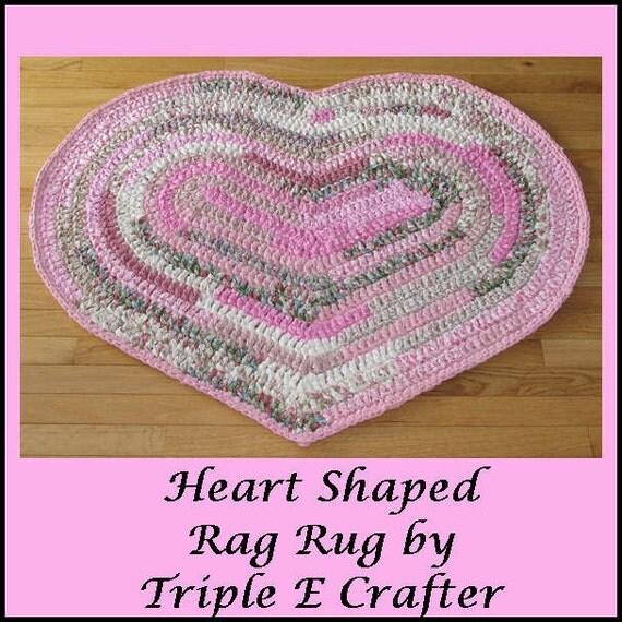 Rug Rag Rug Crochet Cotton Fabric Home Decor Heart By
