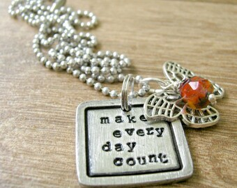 Make Every Day Count Necklace, pewter square, butterfly charm, glass bead, alum ball chain, Autumn Necklace, Butterfly Necklace, inspiration