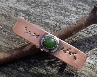 Jade barrette / SMALL copper barrette / jade flower barrette / gift for her / green stone barrette / short hair barrette / small hair clip