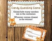 Printable Fox Boy Baby Shower Candy Guessing Game - Instant Download