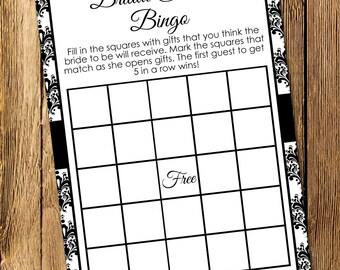 Printable Black and White Damask Bridal Shower Bingo Game - Instant Download