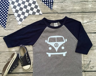 Boys Unisex Volkswagon Bus Baseball T Shirt Navy Blue Gray modern graphic trendy tee 3/4 sleeve