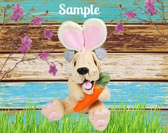 Soft coated Wheaten Terrier Easter Bunny dog with Carrot OOAK Clay art sculpture by Sallys Bits of Clay