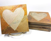 Heart Coasters - 4 Etched Slate Coasters, Handmade Coasters, Natural Stone Drink Coasters, Boyfriend Girlfriend Gifts, Heart Shaped Coasters