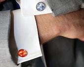 Lune et soleil manchette - accessoires - Orange et gris - boutons de manchette en argent espace, Science l'homme Cosmos accessoires mariage, lunaire, jour de fêtes des pères