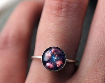 Cat Paw Bear Paw Nebula Sterling Silver Stacking Ring - Galaxy Space Jewelry Custom Sized - Petite Outer Space Jewelry - Stars, Black Cosmos