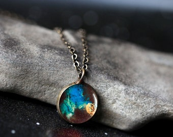 Jellyfish Nebula Pendant - Galaxy Space Necklace - Antique Silver or Bronze - Cosmos Jewellery, Outer Space Universe Jewelry, Science Gift