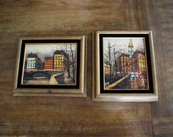 2 Vintage  Framed Paintings City Line Buildings Canvas