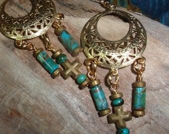 Dangle Hoop Earrings With Turquoise Beads